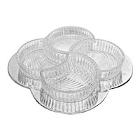 Vintage Crystal & Silverplate Clover Segmented Serving Tray 5 Pc Set