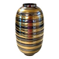 Vintage Brass & Metal Bumble Bee Striped Vase Urn