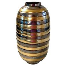 Vintage Brass & Metal Bumble Bee Striped Vase Urn