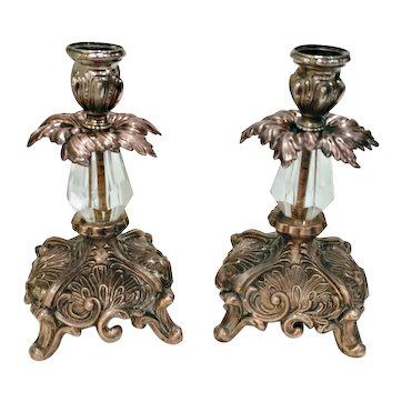 2 Vintage Baroque Gilt Bronze & Crystal Candlestick Holders
