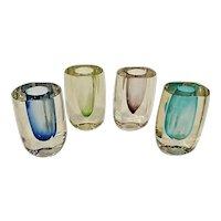 Set of 4 Vintage Modern Crystal Art Glass Bud Vases 5th Avenue