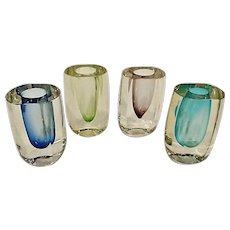 Set of 4 Vintage Modern Crystal Art Glass Bud Vases 5th Avenue
