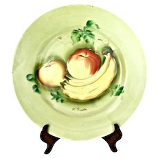 Vintage Norleans Celadon Hand Painted Porcelain Wall Plate W/Fruit Japan