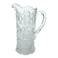Antique EAPG Nucut Large Pressed Glass Crystal Pitcher