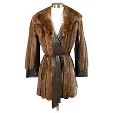 Vintage 80's Haute Couture Mink Fur Wrap Coat
