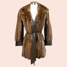 Vintage 80's Haute Couture Mink Fur Wrap Coat