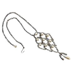 Vintage 30's Long Art Deco Rhinestone Sautoir Necklace