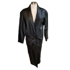 Vintage 80s Womens New Wave Iconic Gitano Long Black Leather Coat