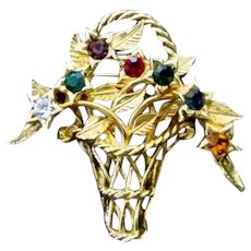 Vintage Joan Rivers Jeweled Flower Basket Brooch Pin Costume Jewelry