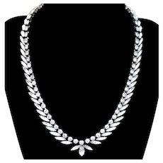 Vintage Mid Century Napier Rhodium Plated Rhinestone Necklace