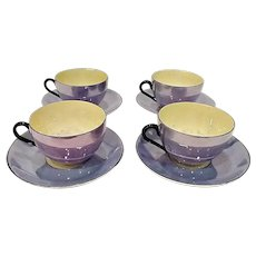 1920s Rudolf Wachter/Richard Ginori Blue Lusterware Cups & Saucers