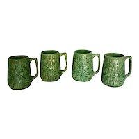Vintage 1920's McCoy Stoneware Pottery Green Basketweave Mugs - Set of 4
