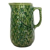 Vintage 1920s McCoy Stoneware Pottery Basket Weave Pitcher Tankard