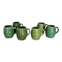 Vintage 1920s McCoy Green Stoneware Pottery Barrel Mugs