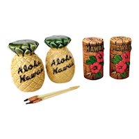 2 Sets Vintage Mid Century Hawaiian Tiki Salt & Pepper Shakers