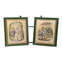 Pair of Antique Victorian Godey's Fashion Miniature Framed Prints