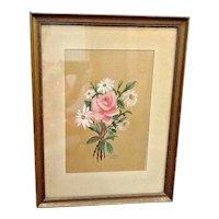Large Vintage 1940's Artist Painted Framed Rose & Daisies