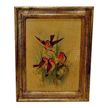 Vintage Italian Florentine Gilt Framed Birds Plaque