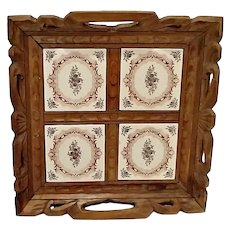Vintage Carved Wood & Spanish Tile Serving Tray