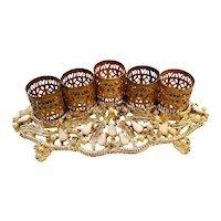 Vintage Sam Fink Jeweled Hollywood Regency Gold Ormolu Lipstick Holder Stand