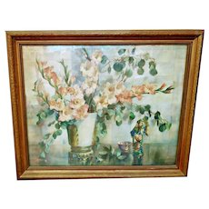 "Large Vintage Chinoiserie Framed Floral Still Life by Cecil Golding 40"" x 33"""