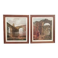 Pair of Vintage Hubert Robert Capricci Landscape Framed Prints