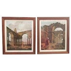 Pair of Vintage Hubert Robert Capricci Landscape Framed Prints 16 x 20
