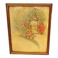 """Vintage Lithograph """"Mother"""" Framed Print w/ Cottage & Roses"""