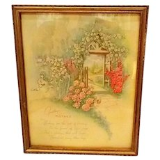 "Vintage Lithograph ""Mother"" Framed Print w/ Cottage & Roses"