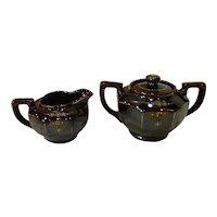 Vintage 40's MG Redware Pottery Sugar & Creamer Set Japan