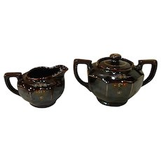 Vintage 40's MG Redware Pottery Sugar & Creamer Set Japan