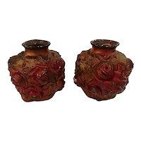 Pair of Antique Goofus Glass Rose Vases