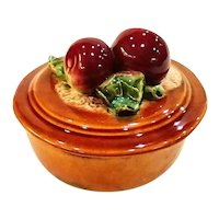 Vintage Wade Art Pottery Red Apples Covered Dish