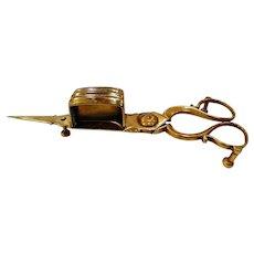 Antique Victorian Brass Candle Wick Trimmer Scissors Snuffer