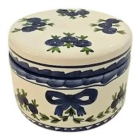Vintage Hand Painted Faience Pottery Vanity Powder Box Portugal