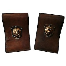 Vintage Italian Leather Covered Hollywood Regency Lion Head Bookends