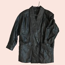 Vintage 80's Black Leather Double Breasted Jacket Sz S