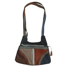 Vintage 70's Multi-Color Leather Shoulder Bag Purse - Mexico