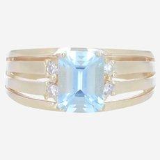 14k Yellow Gold Sky Blue Topaz with Diamonds