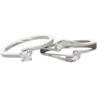 Beautiful 14k White Gold Enhancer and Solitaire Set