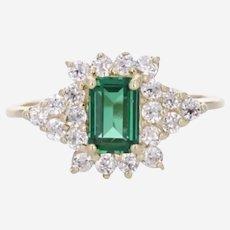 Lovely 14k Emerald and White Topaz Ring
