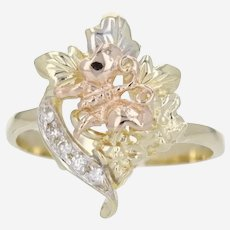 Beautiful 14k Tri Color Flower/Butterfly Ring