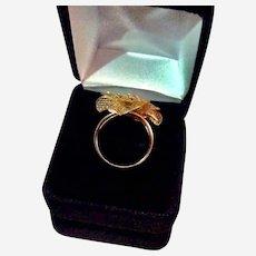 Vintage 14k Yellow Gold Hibiscus Ring