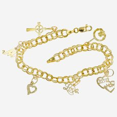 14k Cable Link Bracelet With 6 Charms