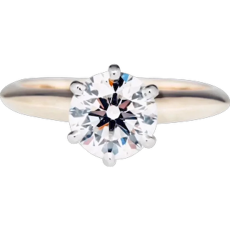 14k .90ct Tiffany Style 6 Prong Natural Diamond Solitaire