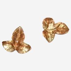14k Yellow Gold Vintage Leaf Earring Enhancers