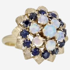 14k Opal and Sapphire Harem Ring