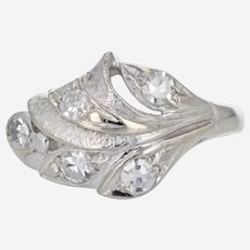 Gorgeous 14k White Gold Art Deco Diamond Leaf Ring