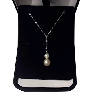 Beautiful 10k White Gold Lariat Cultured Akoya Pearl Necklace
