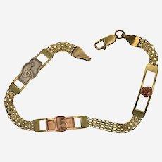 Beautiful 14k Tri Color Sweet 15 Quince Bracelet
